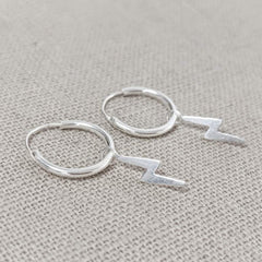Micro Hoop and Lightening Bolt Earring
