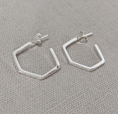 Silver Hexagon Hoop Earring