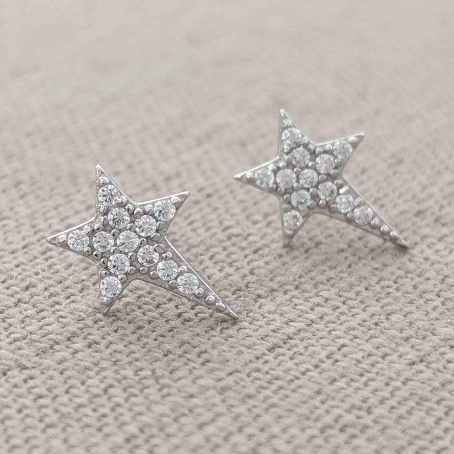 Sterling Silver and Crystal Star Earrings