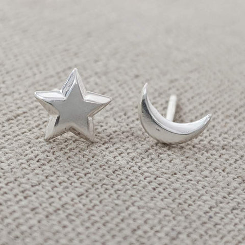 Star and Moon Mismatched Earrings