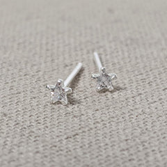 Tiny Crystal Star Stud Earrings