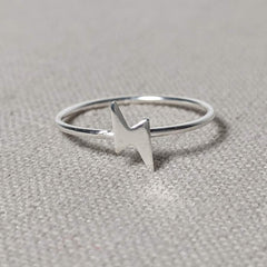 Sterling Silver Lightning Bolt Ring