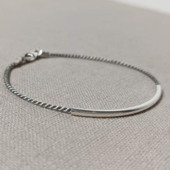 Sterling Silver Bar and Silk Bracelet