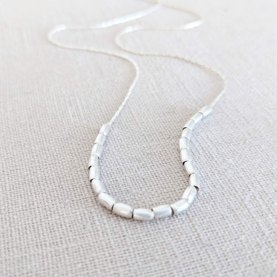 Sterling Silver Tube Bead Necklace