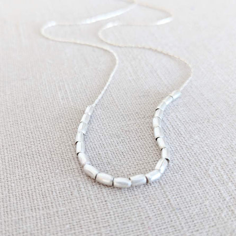 Thai Silver Tube Bead Necklace