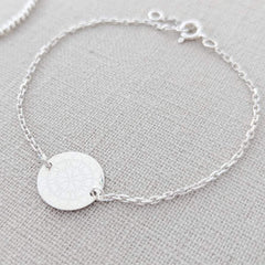 Sterling Silver Engraved Disc Bracelet