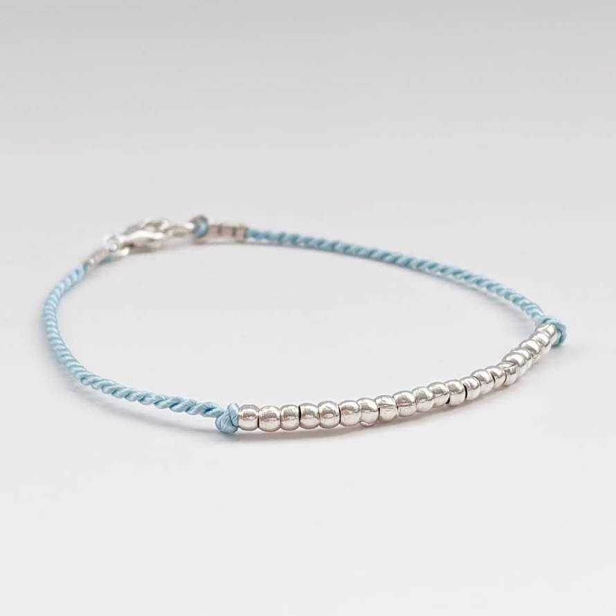 Blue Silk and Thai Silver Bracelet