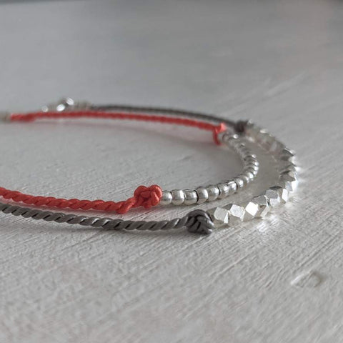 Thai Silver and Silk Friendship Bracelet