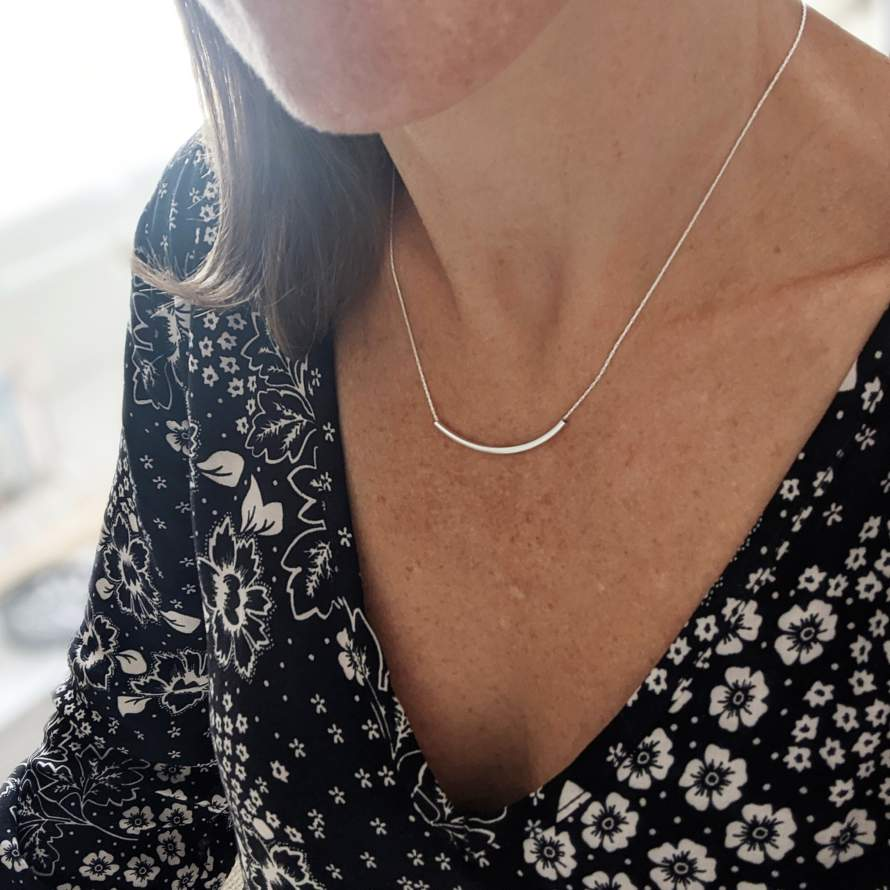 Sterling Silver Curved Bar Necklace