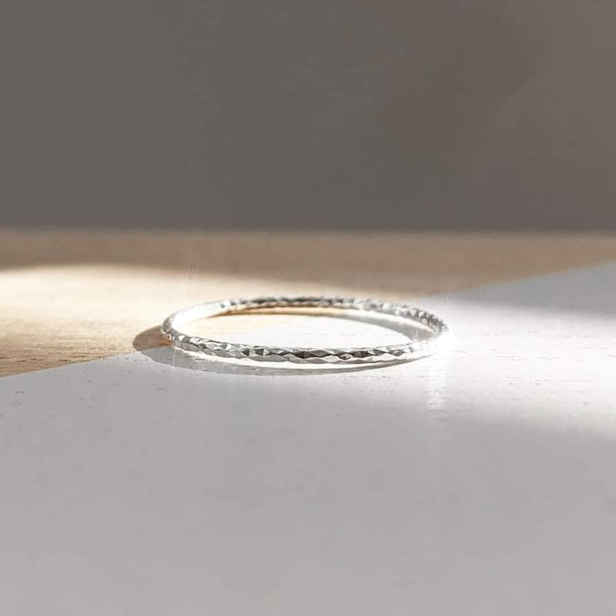 Sterling Silver Faceted Edge Ring