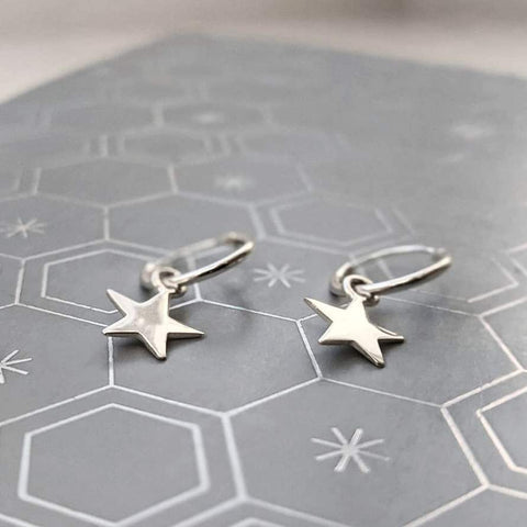 Micro Hoop and Star Earring