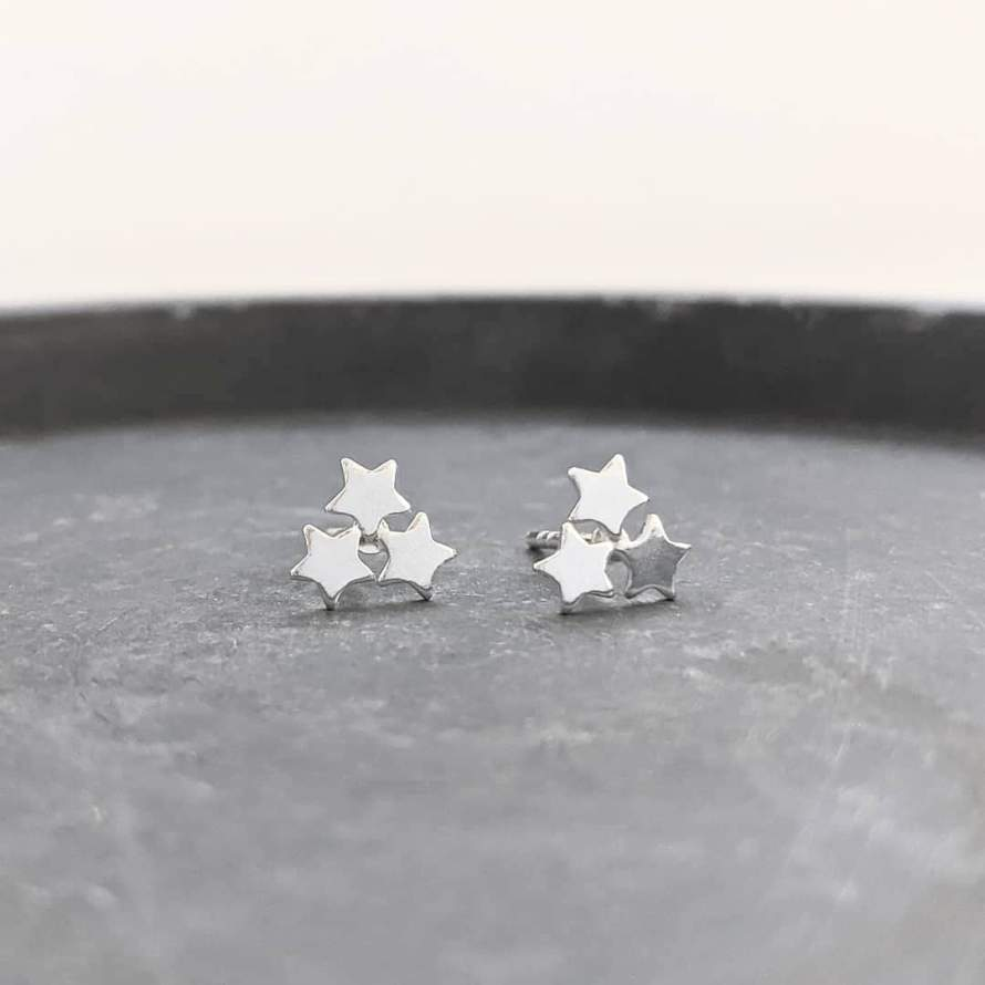 Triple Star Stud Earrings