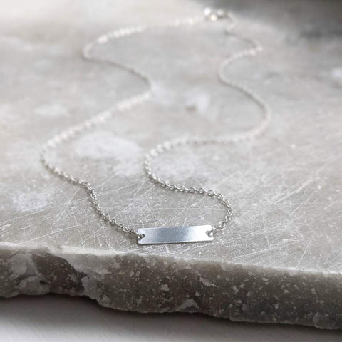 Sterling Silver Flat Bar Necklace