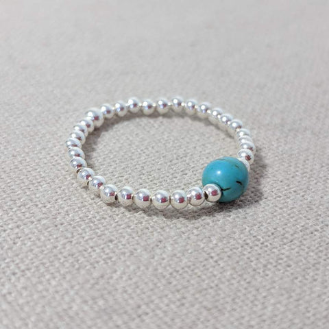 Silver and Turquoise Stacking Ring