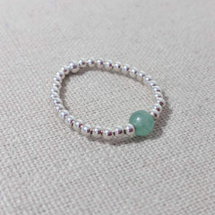 Silver and Green Agate Stacking Ring