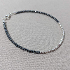 Thai Silver and Hematite Nugget Bracelet