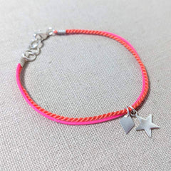 Neon Pink and Coral Charm Bracelet