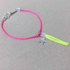Neon Pink and Yellow Tassel Charm Bracelet