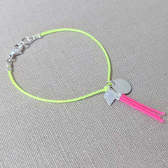 Neon Yellow and Pink Tassel Charm Bracelet