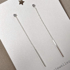 Silver Long Drop Star Earrings