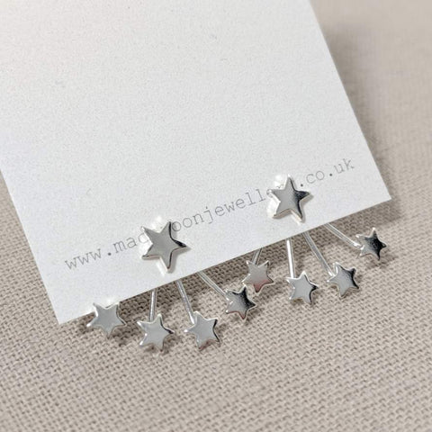 Silver Star Ear Jacket Earrings