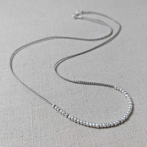 Grey Silk and Thai Silver Necklace