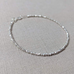 Tiny Thai Silver Beaded Bracelet