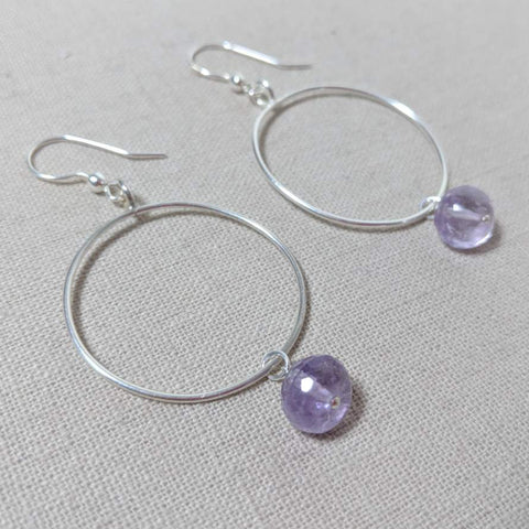 Thai Silver and Amethyst Hoop Earring