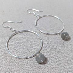 Thai Silver and Labradorite Hoop Earring