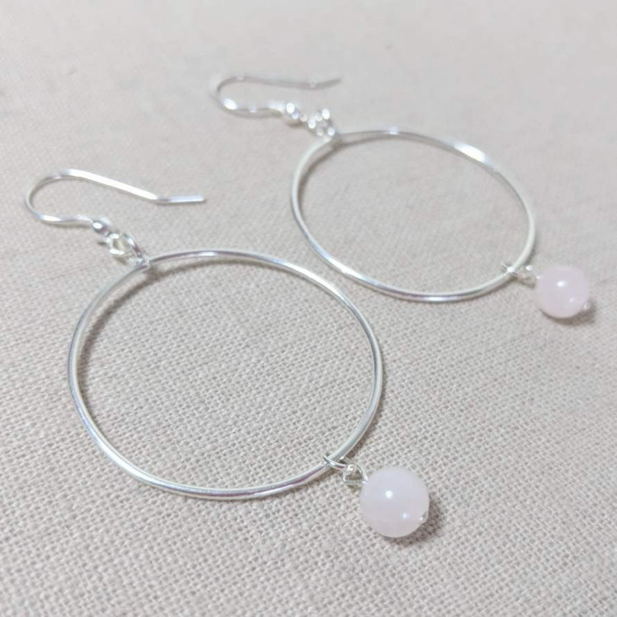 Thai Silver and Rose Quartz Hoop Earring