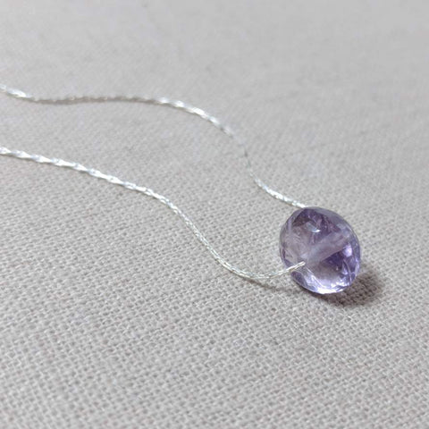 Amethyst Rondelle and Silver Necklace