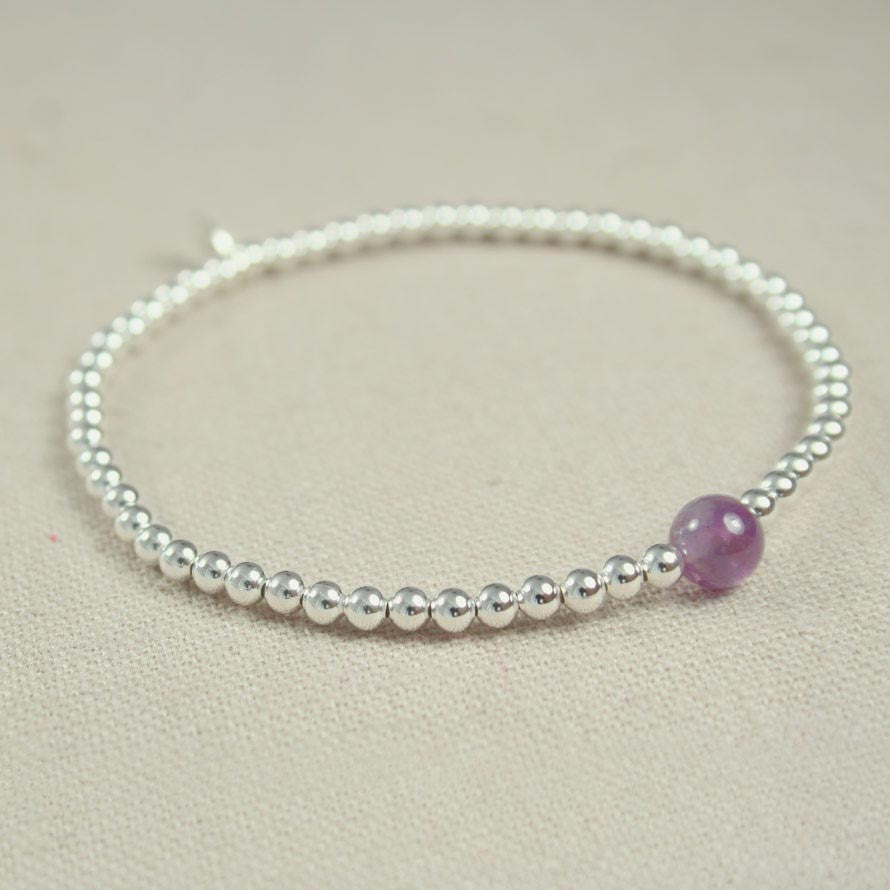 Sterling Silver and Amethyst Beaded Bracelet