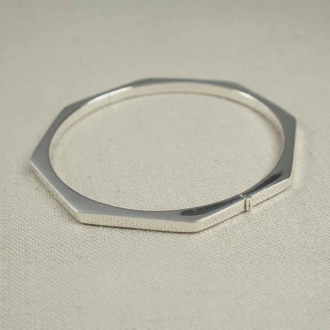 Sterling Silver Hexagon Bangle
