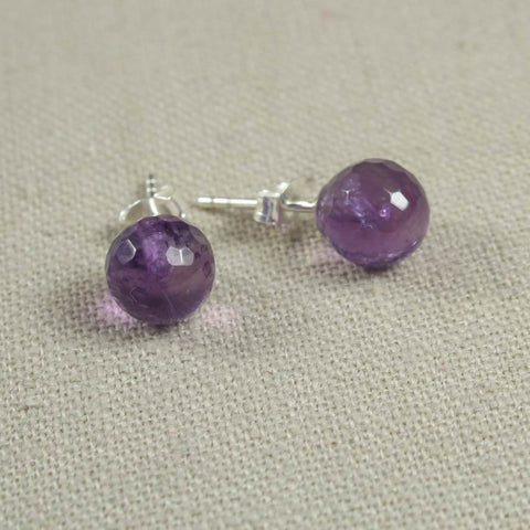 Sterling Silver and Amethyst Stud Earring