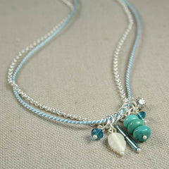 Turquoise and Shell Charm Necklace