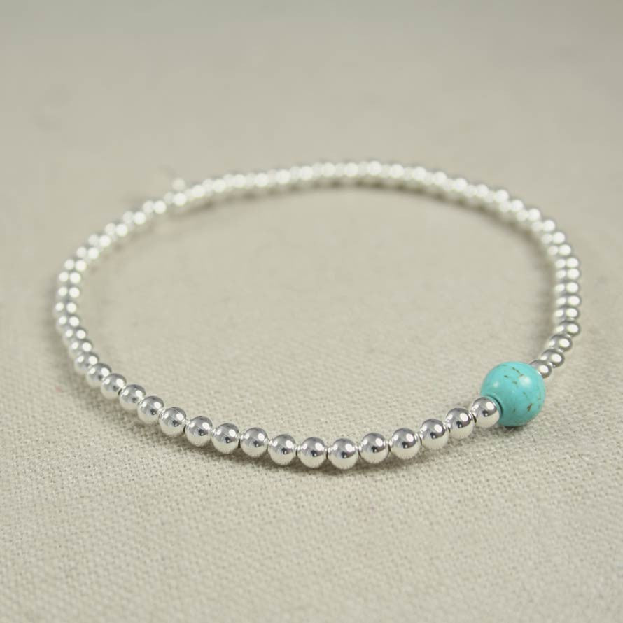 Turquoise and Thai Silver Beaded Bracelet f791dbfdbc2c