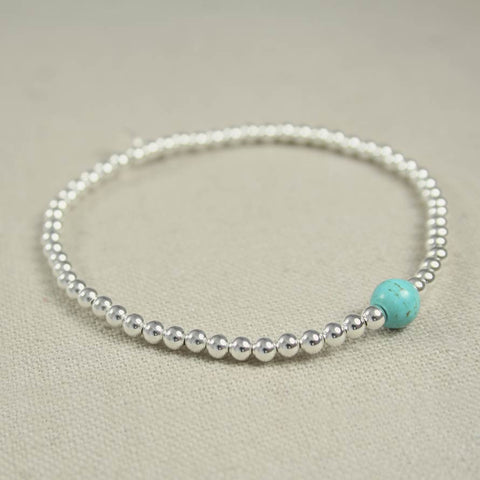 Turquoise and Thai Silver Beaded Bracelet