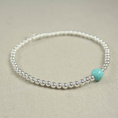 Sterling Silver and Turquoise Beaded Bracelet