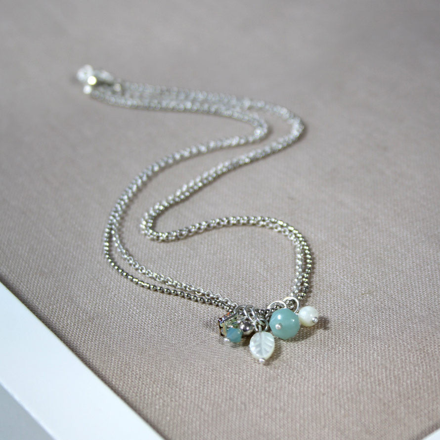 Amazonite and Shell Leaf Charm Necklace