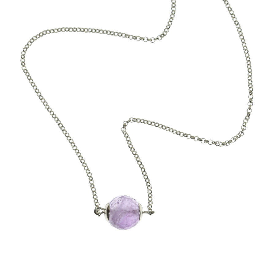 Amethyst and Rhodium Chain Necklace