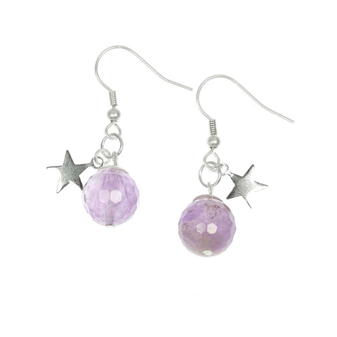 Amethyst and Silver Star Earring