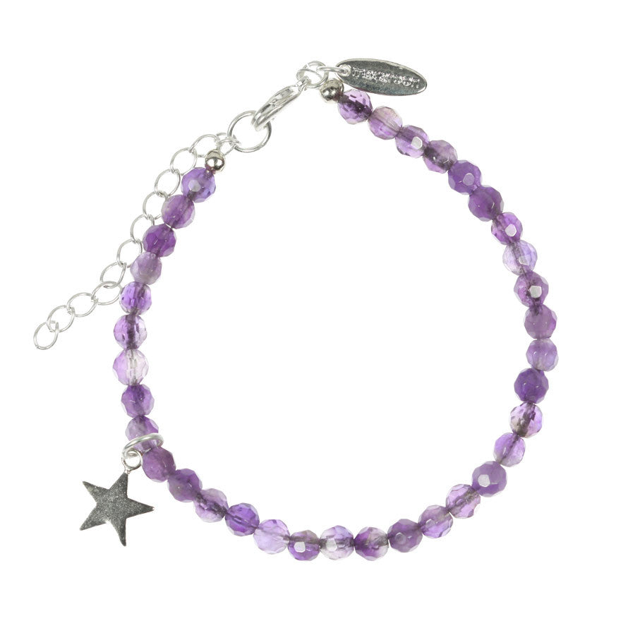 Amethyst and Star Charm Bracelet