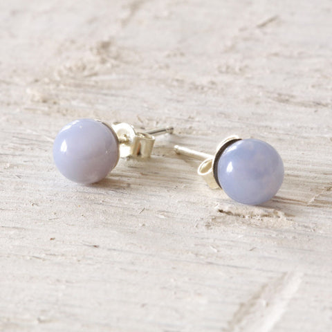Blue Agate and Sterling Silver Earring