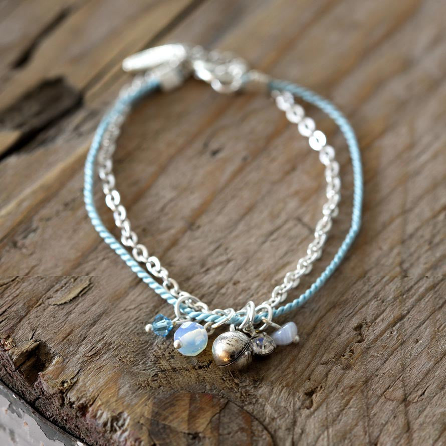 Blue Agate and Thai Silver Charm Bracelet