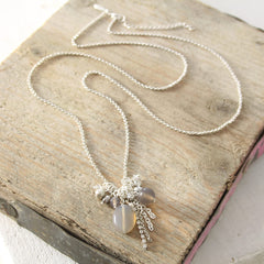 Diamante and Grey Agate Necklace
