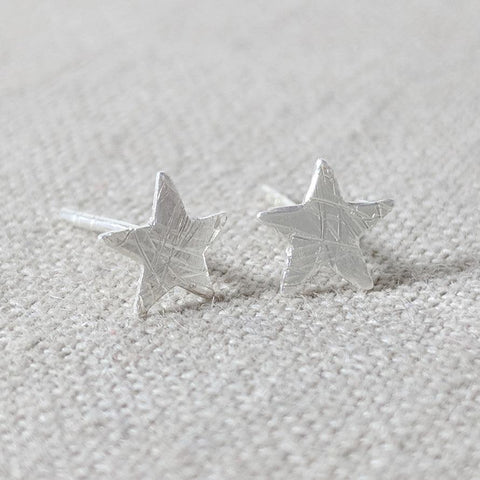 Sterling Silver Brushed Star Stud Earring