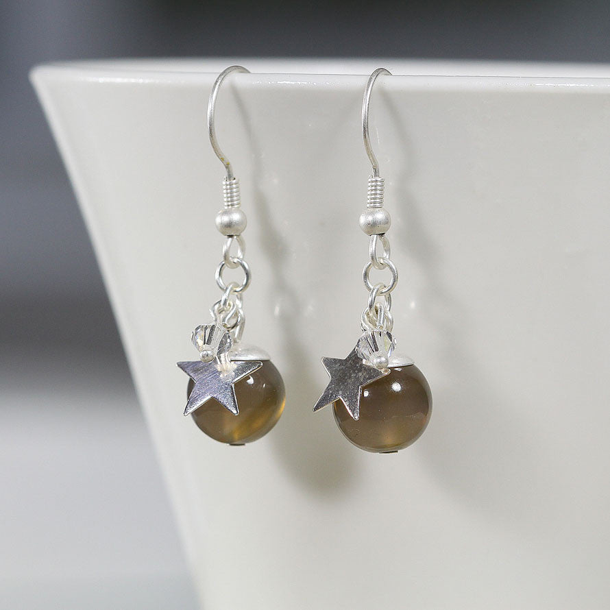 Grey Agate and Sterling Silver Earring