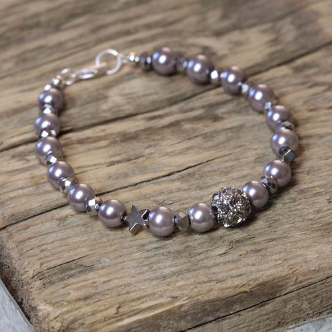 Grey Pearl and Hematite Star Bracelet