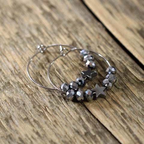 Hematite and Star Hoop Earring