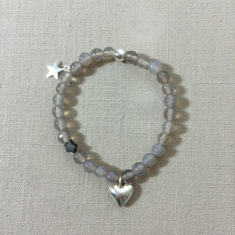 Grey Agate and Silver Charm Bracelet